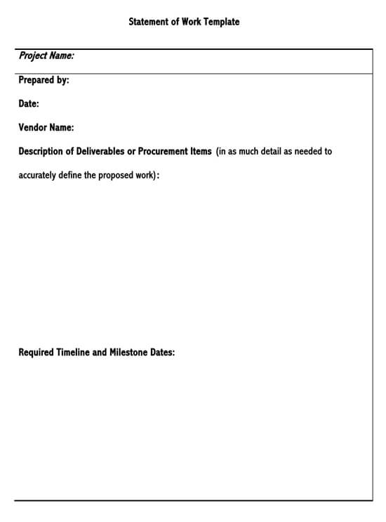 Statement of Work (Sow) Template for Word  18