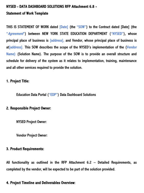 Statement of Work (Sow) Template for Word  26