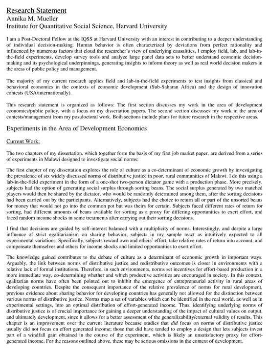 Student Academic Research Statement