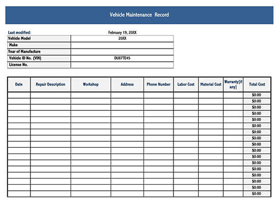 Free Vehicle Maintenance Log Service Sheet Templates Excel Word