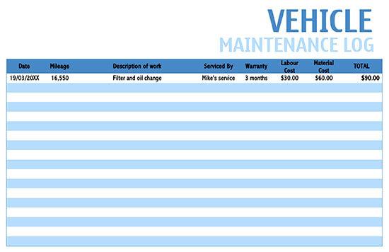 Vehicle Maintenance Log Service Word Sheet 01