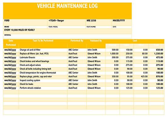 Vehicle Maintenance Log Service Word Sheet 02