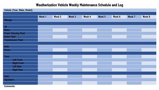 Vehicle Maintenance Log Service Word Sheet 03