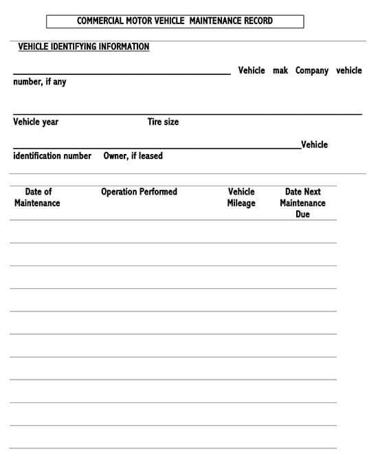 Vehicle Maintenance Log Service Word Sheet 06