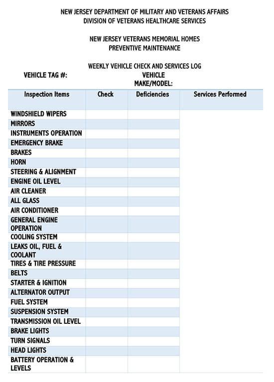 Vehicle Maintenance Log Service Word Sheet 11