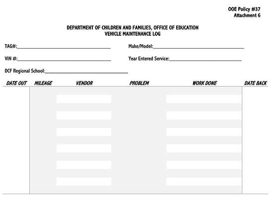 Vehicle Maintenance Log Service Word Sheet 12