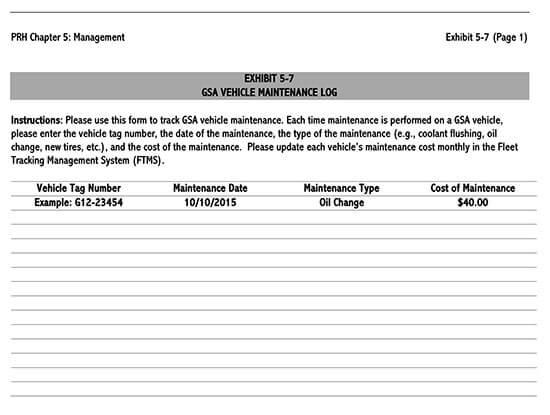 Vehicle Maintenance Log Service Word Sheet 18