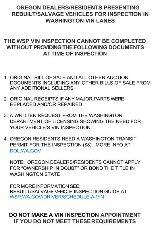 Washington – Visit Inspection Station