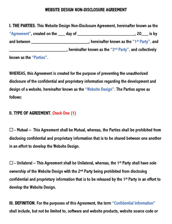 Website Design Non-Disclosure Agreement Template