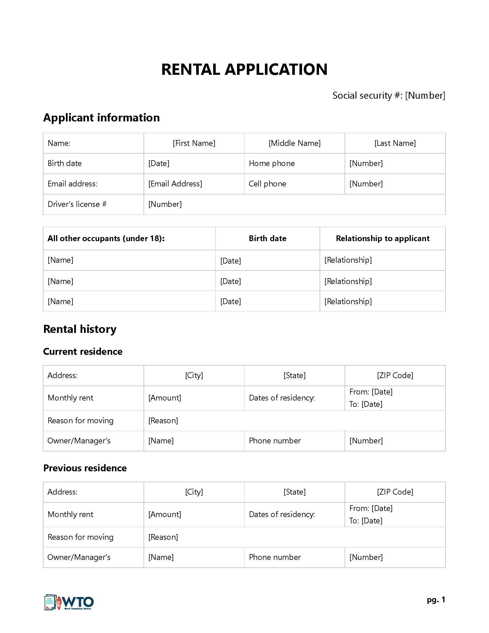 Zillow Rental Application Form