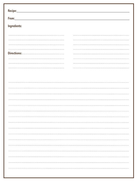 Cookbook Word Note Template 13