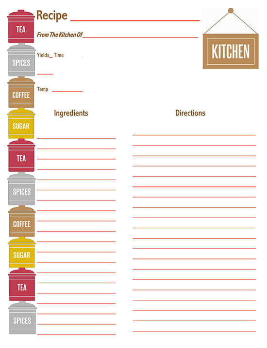 Cookbook Word Note Template 16
