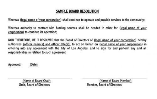 board resolution template signature authority
