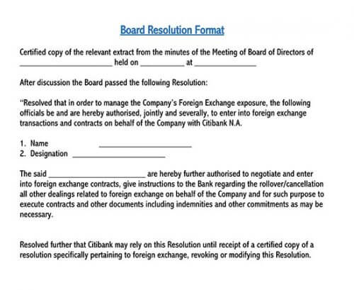 how to write a board resolution