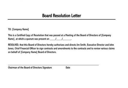 board resolution sample letter 01