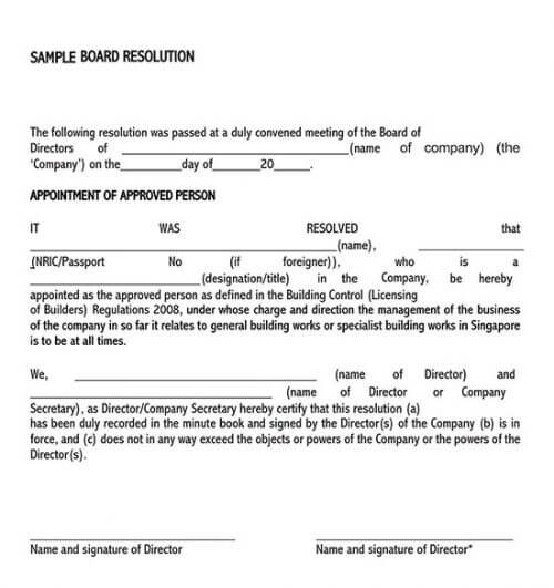board resolution template signature authority 01