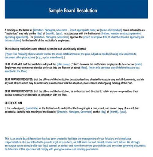 board of directors resolution 01