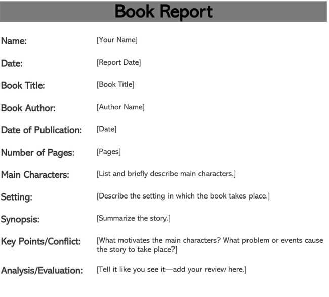 Book Report Template 03