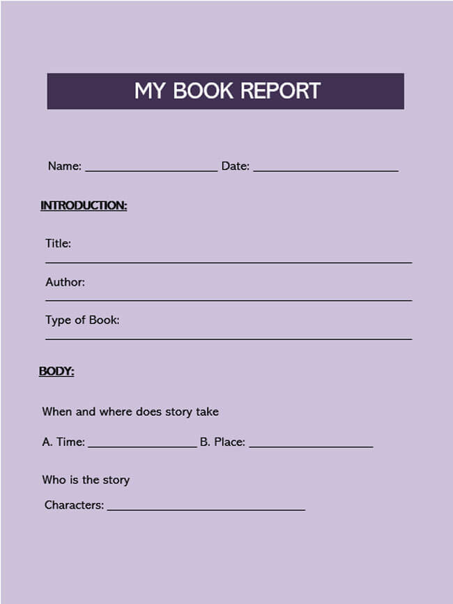 Book Report Template 05