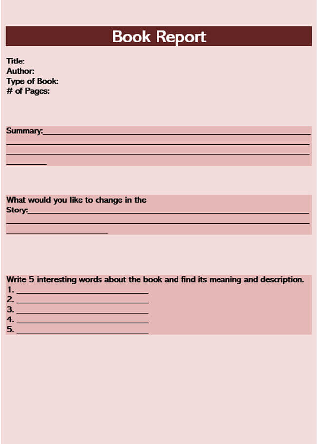 Book Report Template 08