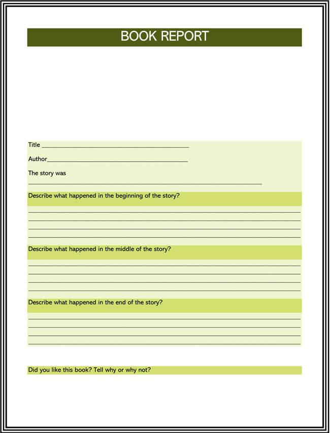 Book Report Template 10