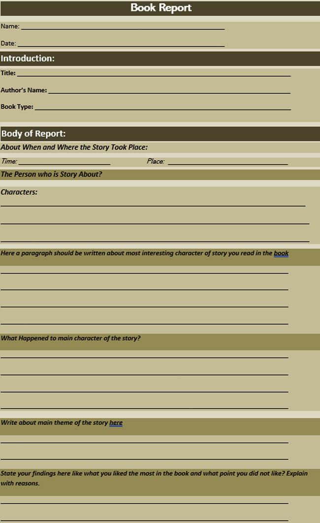 Book Report Template 15