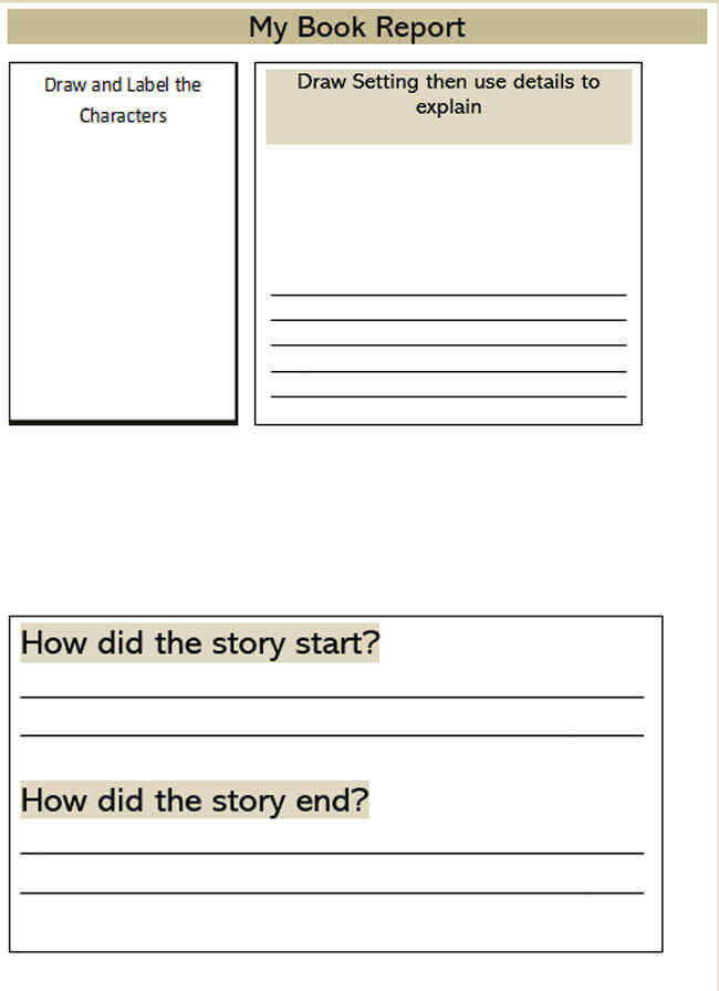 Book Report Template 18
