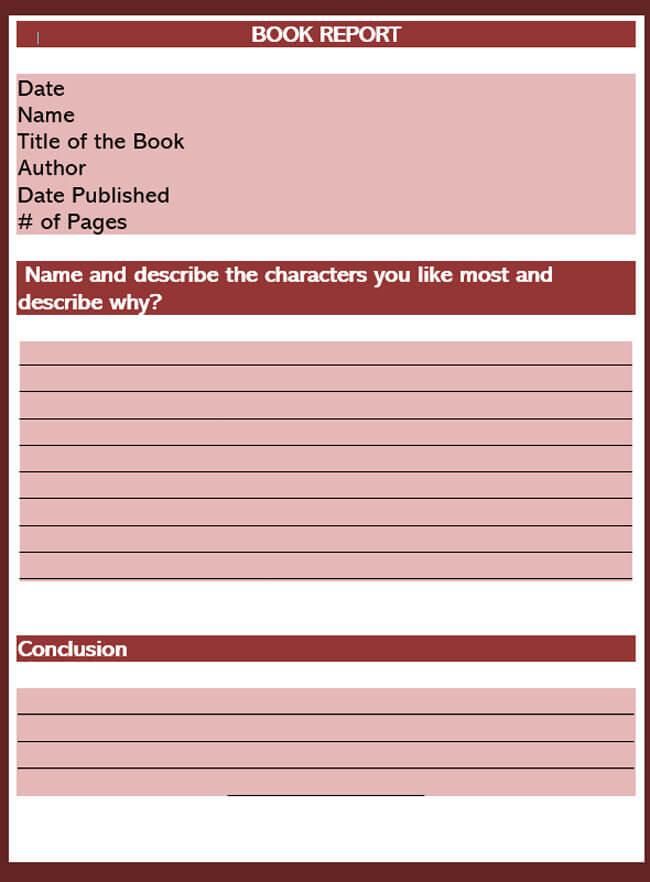 Book Report Template 20