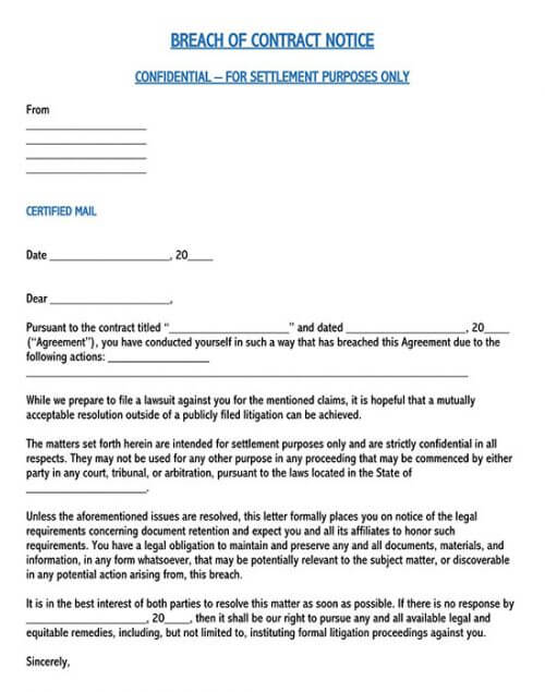 sample response to breach of contract letter