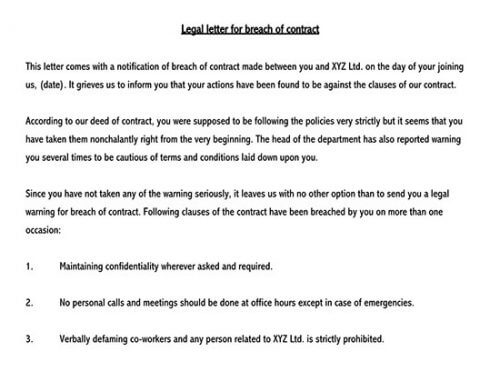 breach of contract letter before action sample