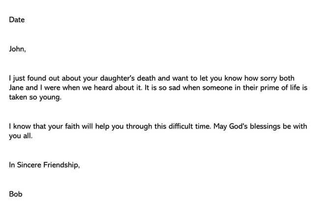 Condolences Letter for Death of Child