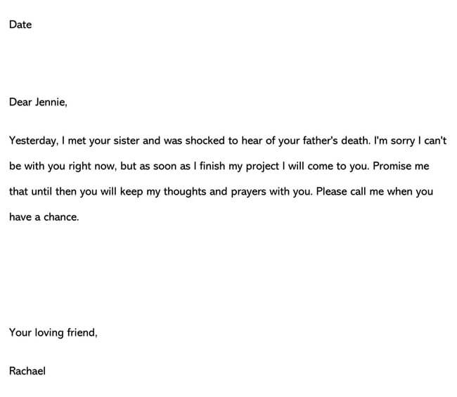Condolences Letter for Death of Father 02
