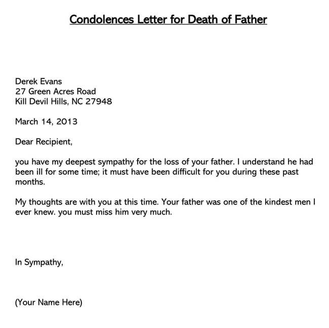 Condolences Letter for Death of Father 01