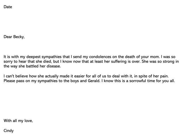 Condolences Letter for Death of Mother