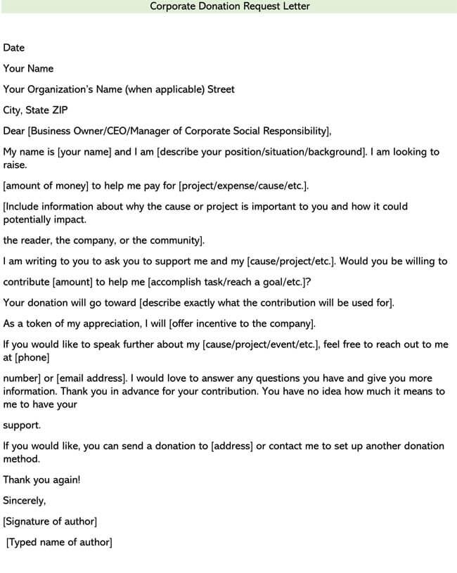 Corporate Donation Request Letter