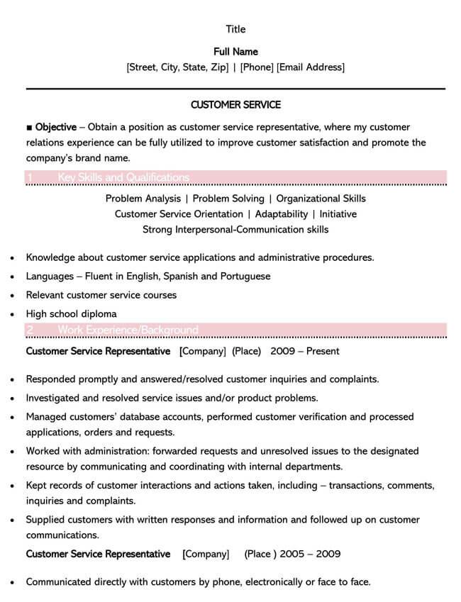 Customer Service Resume Template 02