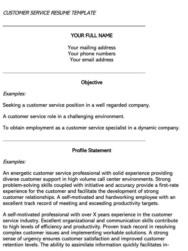 Customer Service Resume Template 03