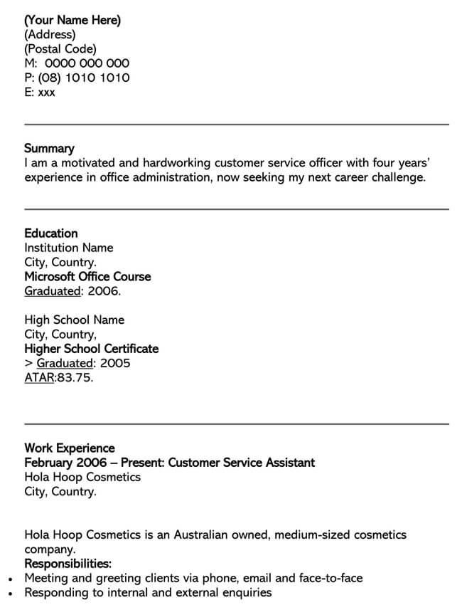 Customer Service Resume Template 04