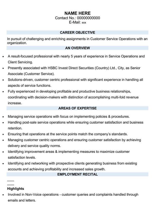 Customer Service Resume Template 05