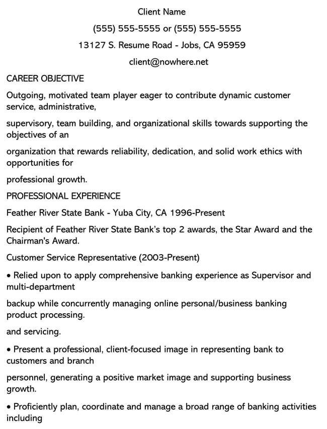 Customer Service Resume Template 07