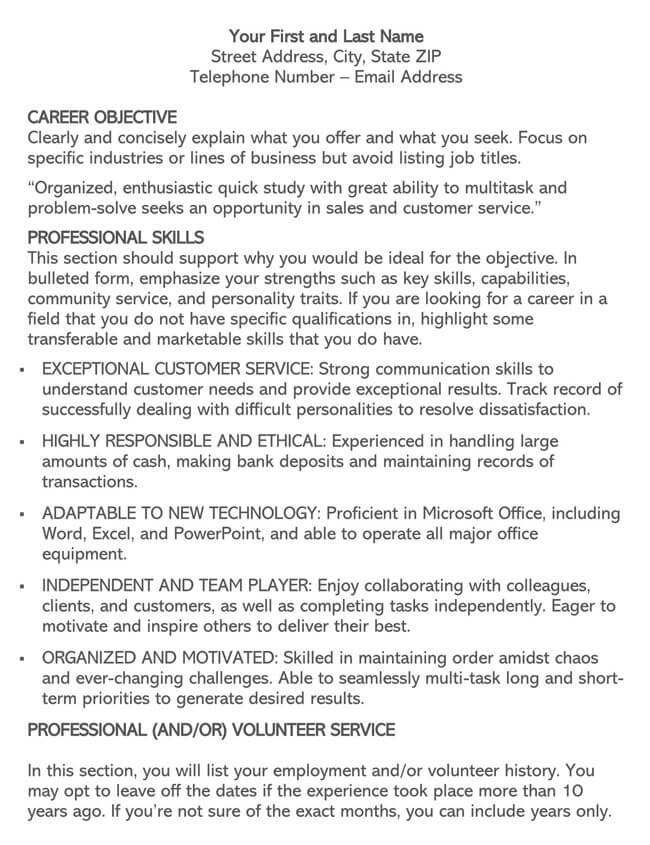 Customer Service Resume Template 08