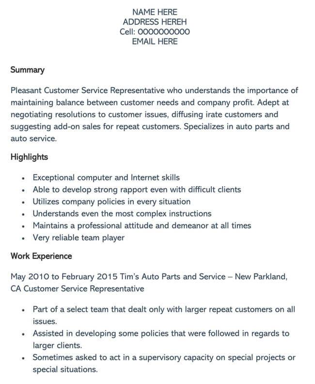 Customer Service Resume Template 09