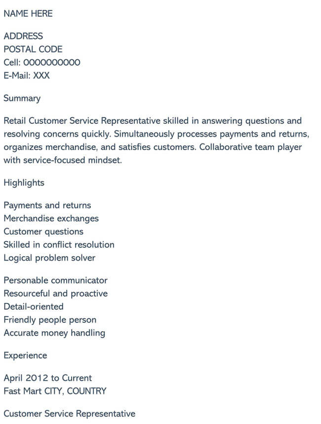 Customer Service Resume Template 10