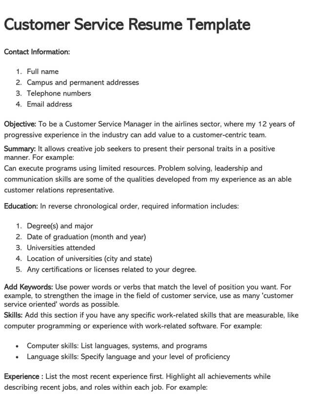 Customer Service Resume Template 11