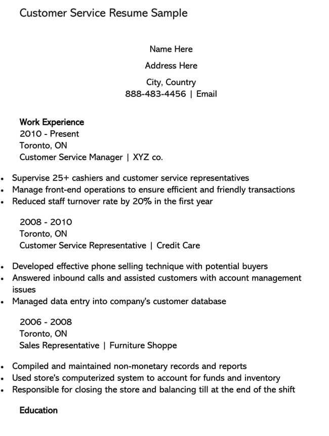 Customer Service Resume Template 12