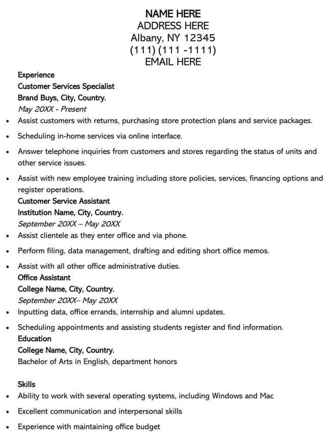 Customer Service Resume Template 13