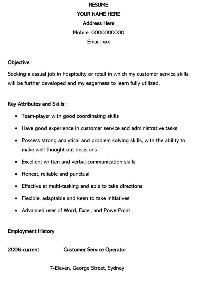 Customer Service Resume Template 15