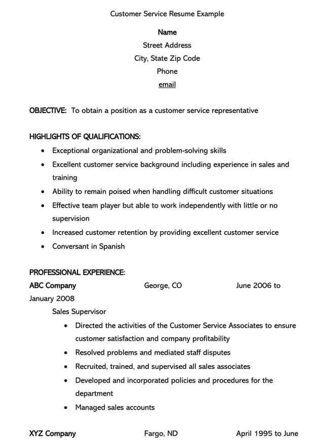 Customer Service Resume Template 16