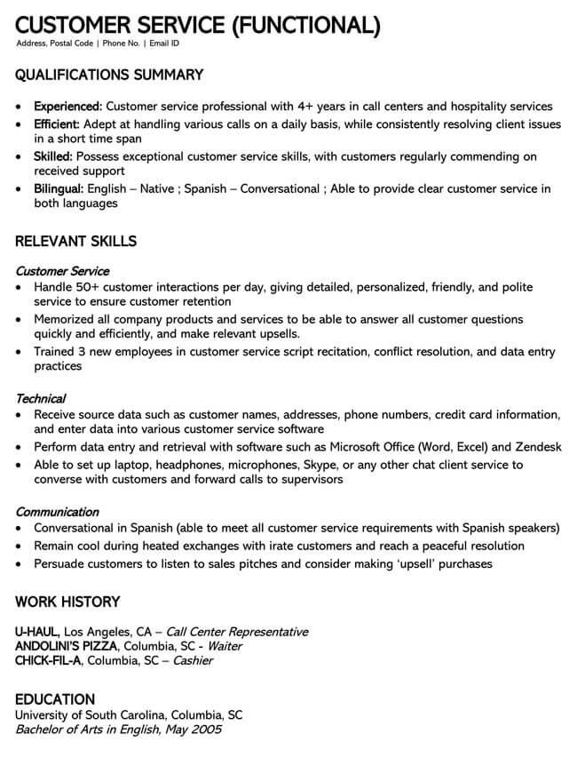 Customer Service Resume Template 19