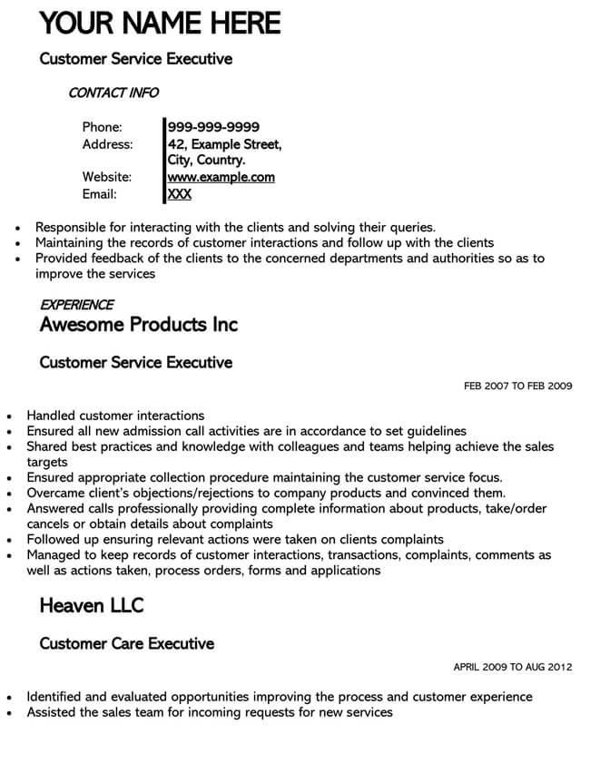 Customer Service Resume Template 20